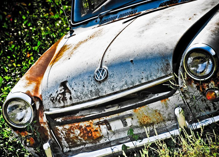Greeting Card featuring the photograph Old Vw by Kathy Jennings