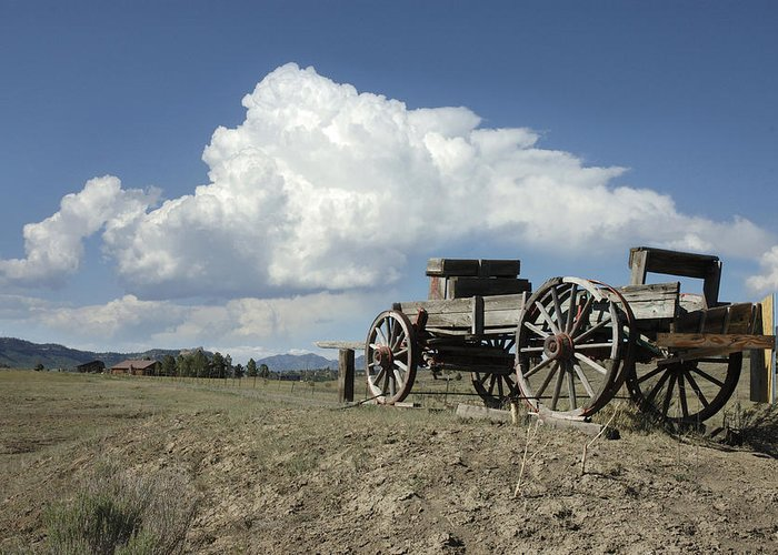 Wagon Greeting Card featuring the photograph Old Wagon Out West by Jerry McElroy