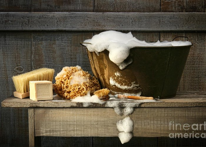 Antique Greeting Card featuring the digital art Old Wash Tub With Soap On Bench by Sandra Cunningham