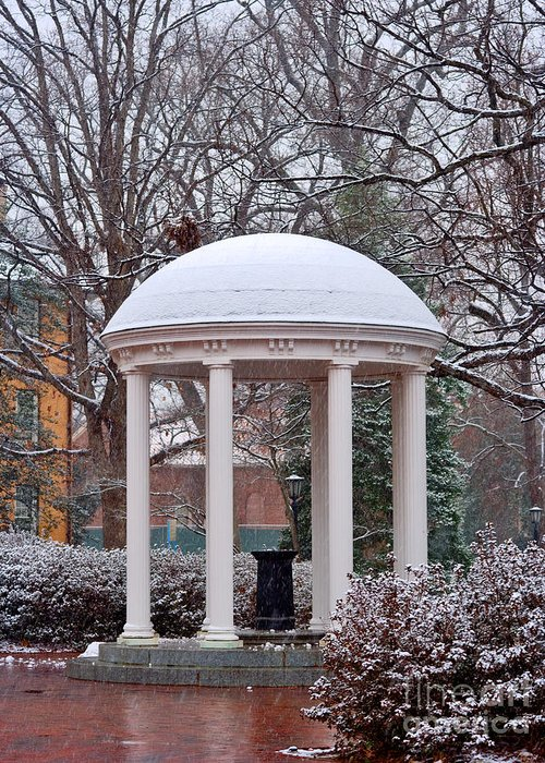Snow Fall Greeting Card featuring the photograph Old Well In The Snow by Frank Boellmann