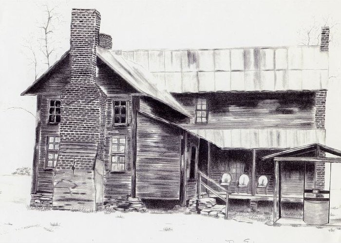 Landscape Greeting Card featuring the drawing Old Willard Home by Penny Everhart
