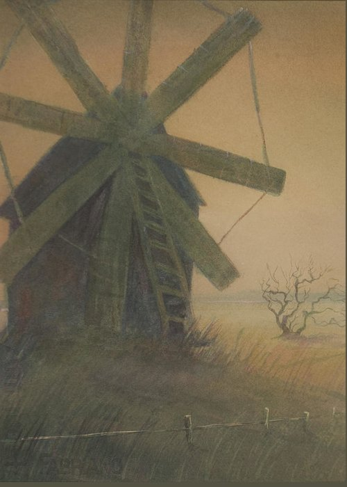 Watercolor Greeting Card featuring the painting Old Windmill by Alla Parsons