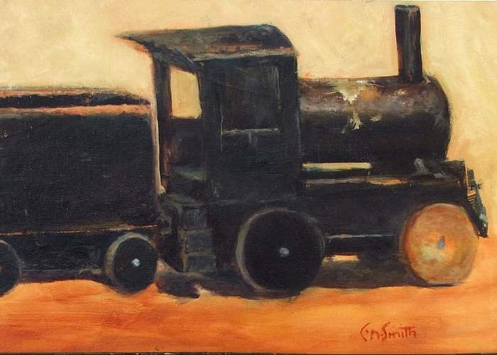 Trains Greeting Card featuring the painting Old Wood Toy Train by Chris Neil Smith