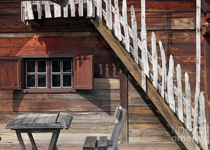Window Greeting Card featuring the photograph Old Wooden Cabin Log Detail by Goce Risteski