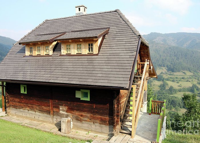 House Greeting Card featuring the photograph Old Wooden House On Mountain by Goce Risteski