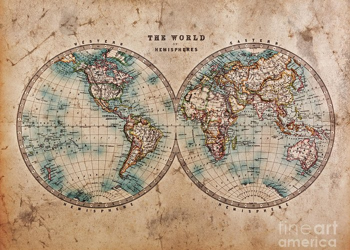 World Map Greeting Card featuring the photograph Old World Map In Hemispheres by Richard Thomas