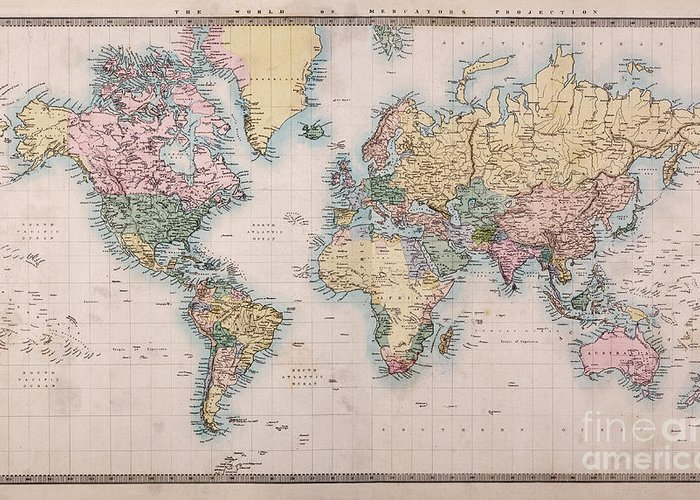 World Map Greeting Card featuring the photograph Old World Map On Mercators Projection by Richard Thomas