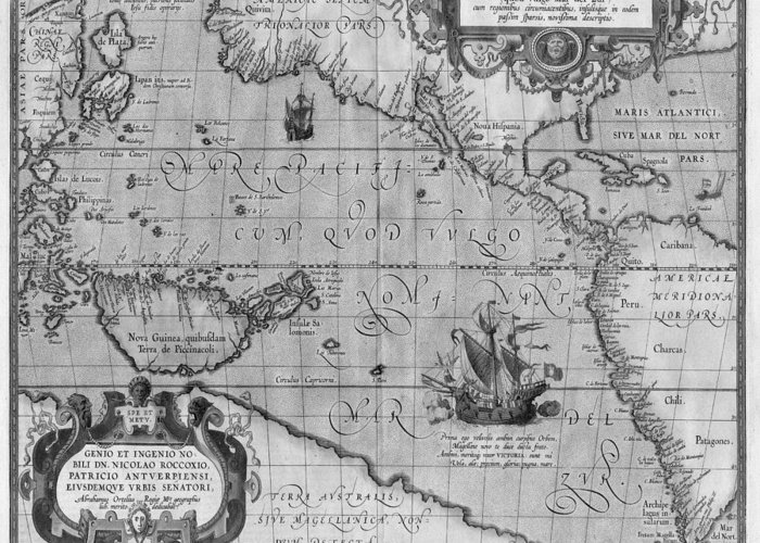 picture relating to Vintage World Map Printable named Aged Globe Map Print Versus 1589 - Black And White Greeting Card