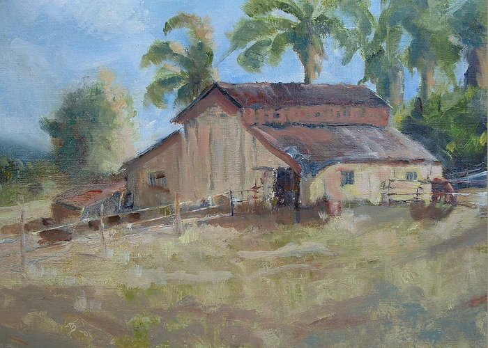 Old Barns; Horse Stables Landscape In Plein-air Greeting Card featuring the painting Old Yeller by Bryan Alexander