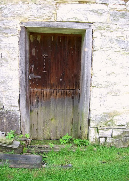 Mills Greeting Card featuring the photograph Old Yingling Flour Mill Door by Don Struke
