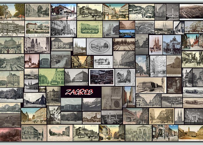 Old Zagreb Greeting Card featuring the pyrography Old Zagreb Collage by Janos Kovac