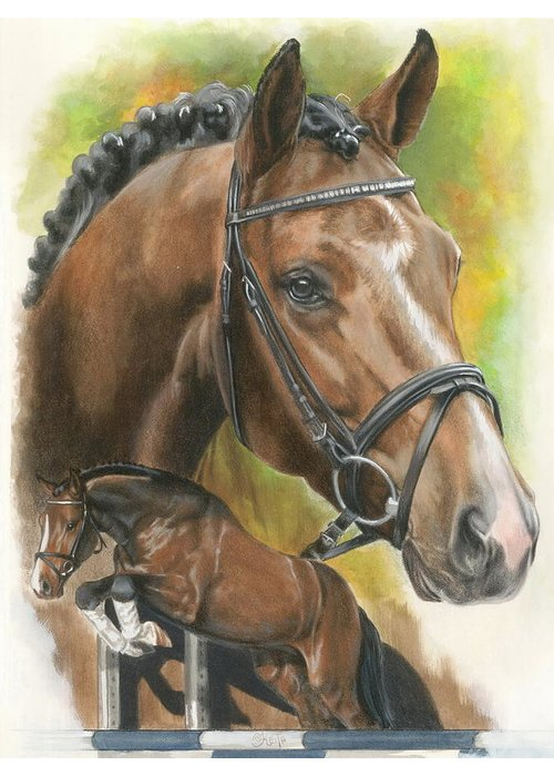 Hunter Jumper Greeting Card featuring the mixed media Oldenberg by Barbara Keith
