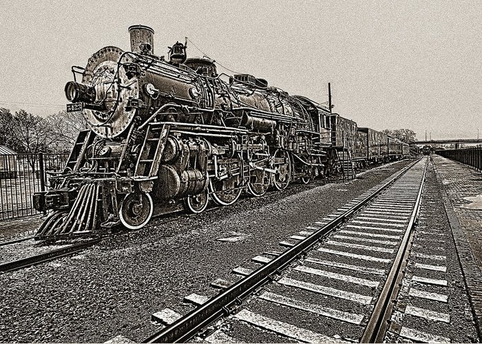 Railroad Greeting Card featuring the photograph Oldtimer by Jim Painter