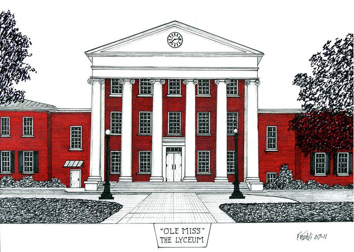 Ole Miss Building Drawing Greeting Card featuring the drawing Ole Miss by Frederic Kohli