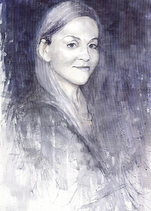 Watercolour On Paper Greeting Card featuring the painting Olga by Yuriy Shevchuk