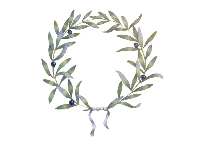 Greeting Card featuring the painting Olive Crown - white by Sobobak