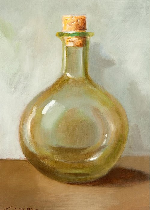 Olive Oil Greeting Card featuring the painting Olive Oil Bottle Still Life by Joni Dipirro
