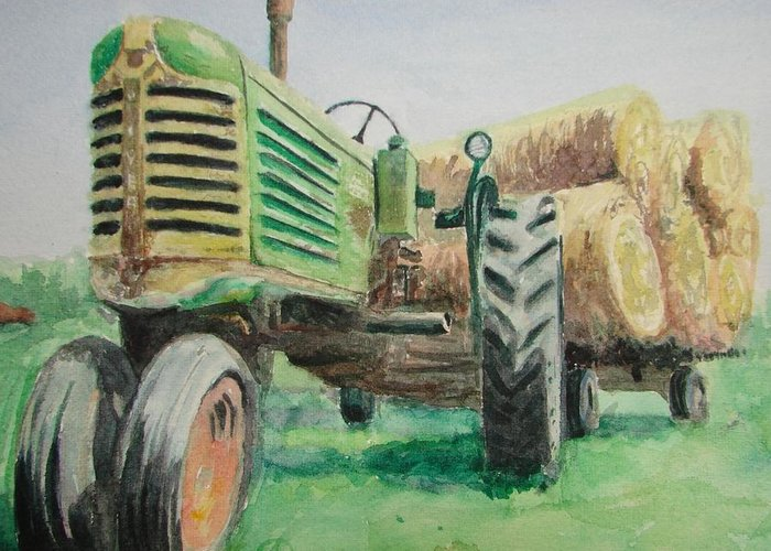 Tractor Paintings Greeting Card featuring the painting Olivers Still Working by Patsy Kline