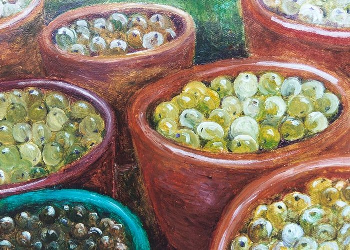 Olives Greeting Card featuring the painting Olives By The Crock by Jun Jamosmos
