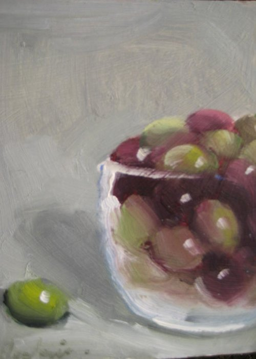 Still Life Greeting Card featuring the painting Olives by Susan Jenkins