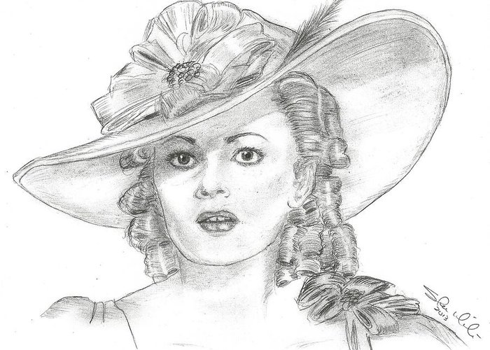 Olivia De Havilland Greeting Card featuring the drawing Olivia De Havilland by Steven White