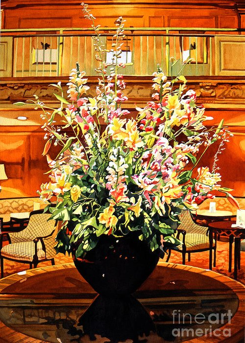 Flower Arrangements Greeting Card featuring the painting Olympic Grandeur by David Lloyd Glover