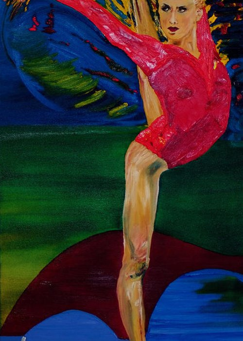 Olympic Gymnast Photo Greeting Card featuring the painting Olympic Gymnast Nastia Liukin by Gregory Allen Page