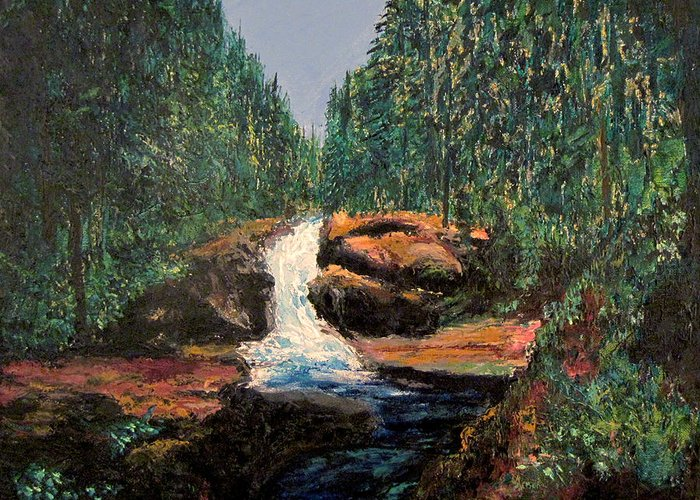 Olympic Park Waterfall Greeting Card featuring the painting Olympic Park Waterfall by Richard Beauregard