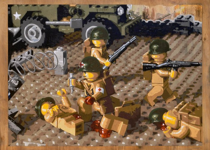 Lego Greeting Card featuring the painting Omaha Beach June 6 1944 by Josh Bernstein