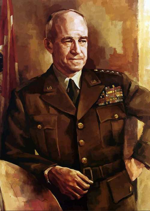 Omar Bradley Greeting Card featuring the painting Omar Bradley by War Is Hell Store
