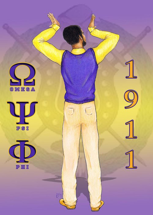 Omega Greeting Card featuring the digital art Omega Psi Phi by BFly Designs