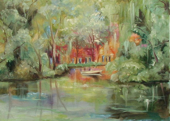 Bayou Greeting Card featuring the painting On A Bayou by Ginger Concepcion