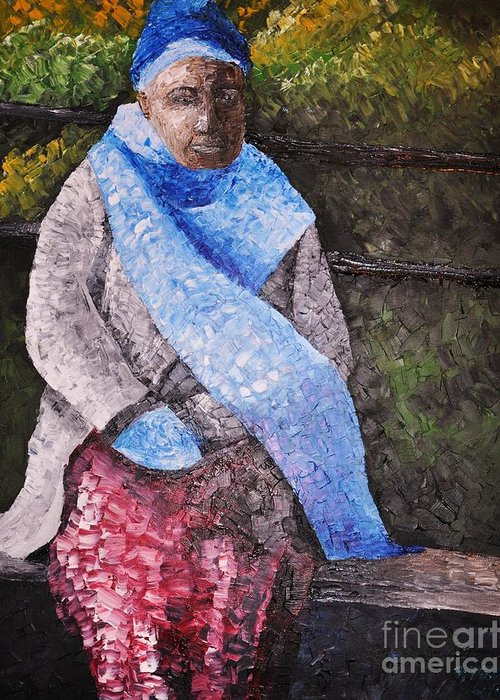 Black Woman Greeting Card featuring the painting On A Cold Day by Reb Frost