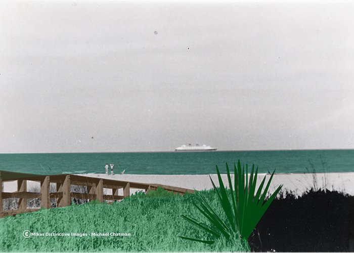 Beach Greeting Card featuring the digital art On A Florida Beach by Michael Chatman