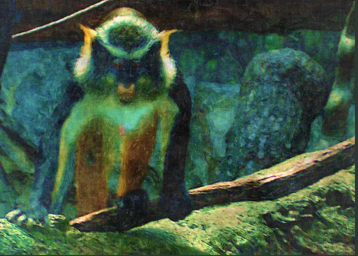 Monkey Greeting Card featuring the digital art On A Limb by Rora