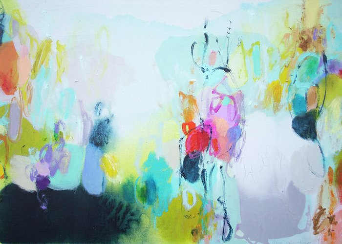 Abstract Greeting Card featuring the painting On A Road Less Travelled by Claire Desjardins