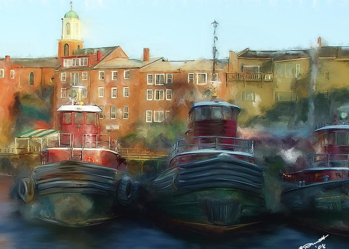 Nautical Tow Tug Boat Portsmouth Nh Atlantic Coast Harbor Sea Ocean Port Greeting Card featuring the painting On Call by Eddie Durrett