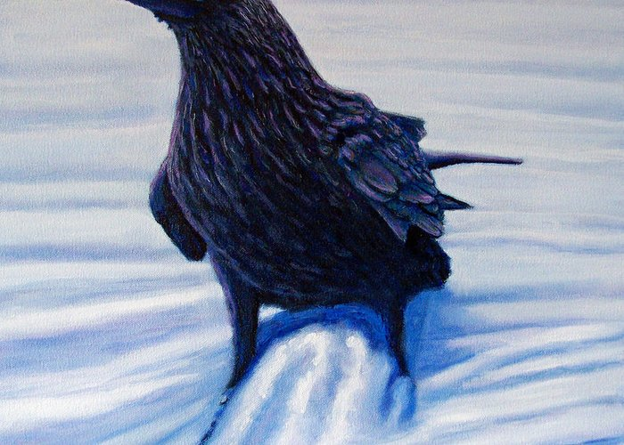 Raven Greeting Card featuring the painting On Canyon Road by Brian Commerford