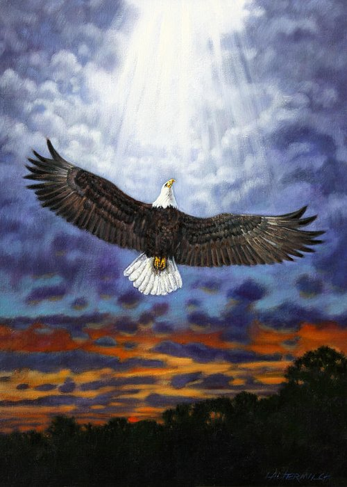 Eagle In Flight Greeting Card featuring the painting On Eagles Wings by John Lautermilch