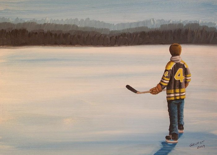 Bobby Orr Greeting Card featuring the painting On Frozen Pond - Bobby by Ron Genest