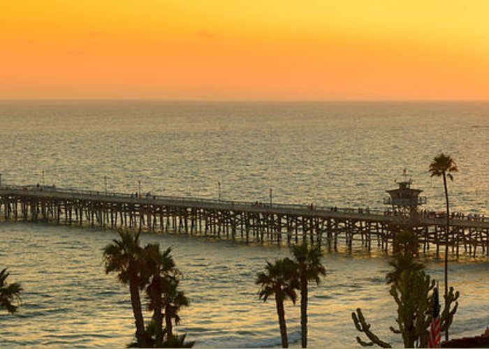 San Clemente Greeting Card featuring the photograph On Golden Pier by Gary Zuercher