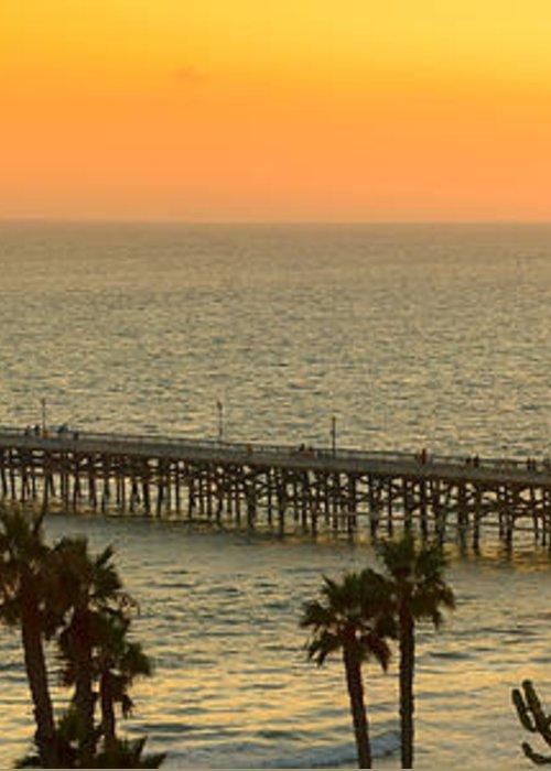 San Clemente Greeting Card featuring the photograph On Golden Pier by Gary Zuercher
