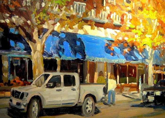 Citscape Paintings Greeting Card featuring the painting On Government Street by Brian Simons