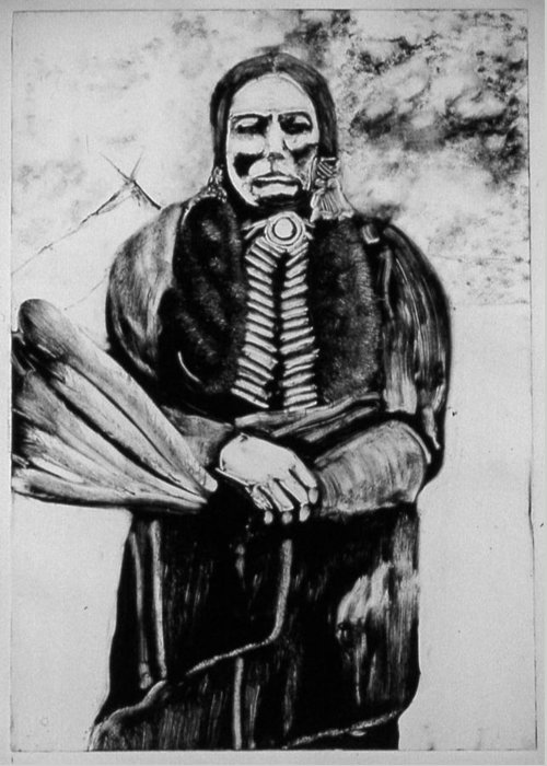 Western Art Greeting Card featuring the drawing On Kiowa Reservation by Dan RiiS Grife