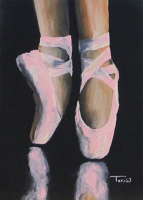 Ballet Greeting Card featuring the painting On Point by Torrie Smiley