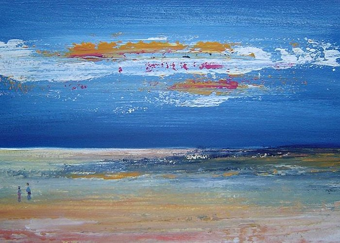 Seascape Greeting Card featuring the painting On The Beach by Bridgette Allan