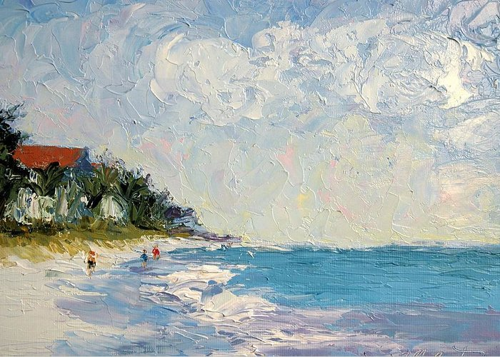 Seascape Greeting Card featuring the painting On The Beach by Colleen Murphy
