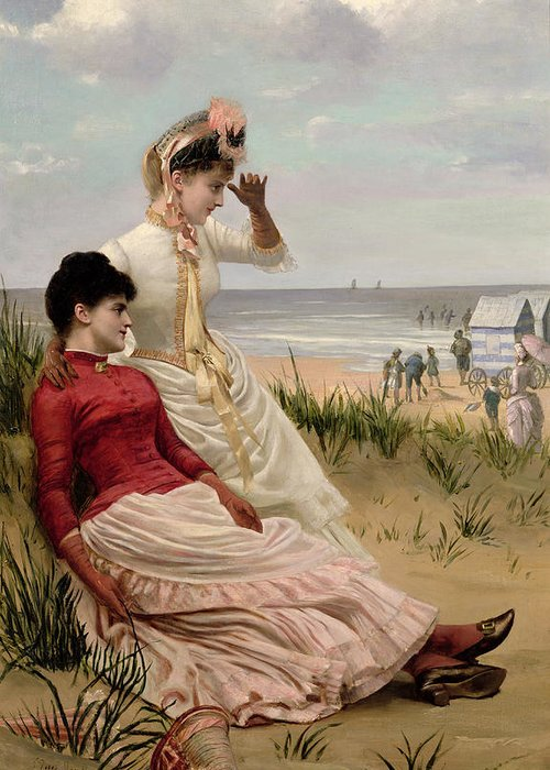 The Greeting Card featuring the painting On The Beach by George van den Bos