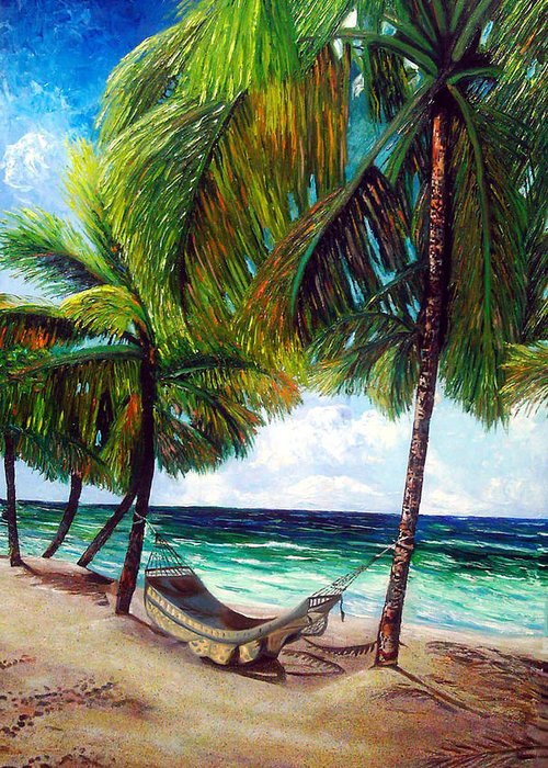 Beach Greeting Card featuring the painting On the beach by Jose Manuel Abraham