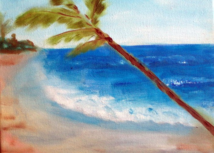 Ocean Greeting Card featuring the painting On The Beach by Lia Marsman